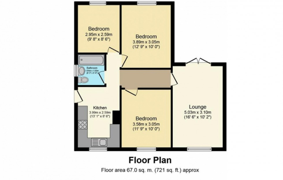 Floorplan for Worcester Avenue, Mansfield Woodhouse, Mansfield